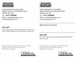 referral hairdressing offer scheme with central Bristol hairdressers at Aidan Garlington Hair Design