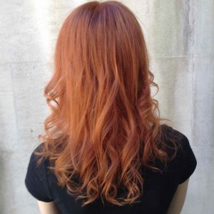 soft copper Autumn hair colour in Bristol at Aidan Garlington Hair Design