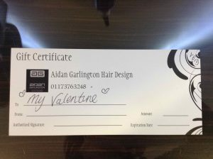 Valentine's Day Gift Vouchers from Bristol hair salon Aidan Garlington Hair Design